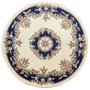Mahal Round Rug, Cream Blue, 120 cm Round