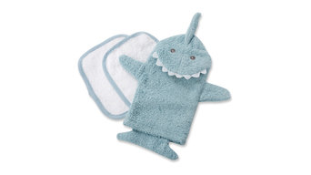 Shark Blue Scrubby and Wash Cloth Set, Blue
