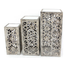 Gray 3 Piece Floral Mirrored Nesting Table Set