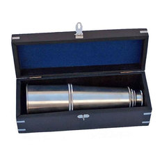 """Deluxe Class Admirals Spyglass Telescope With Rosewood Box, Brushed Nickel, 27"""""""