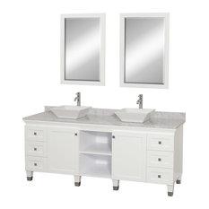 """Premiere 72"""" Double Vanity, White, White Carrera Marble, Pyra White Porcelain"""