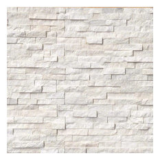 Arctic White Ledger Panel Natural Quartzite Wall Tile, White, 30 Pieces, Brick