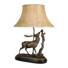 Sculpture Table Lamp Nibbling Elk Hand Painted Made in the USA OK