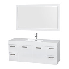 "Amare 60"" Bathroom Vanity Glossy White, Acrylic Basin, Integrated Sink"