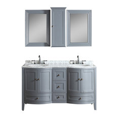 """Rome 60"""" Double Vanity Set With Mirror and Wall Cabinets, Charcoal Gray"""