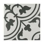 """9.75""""x9.75"""" Art Porcelain Floor/Wall Tiles, Set of 16, White"""