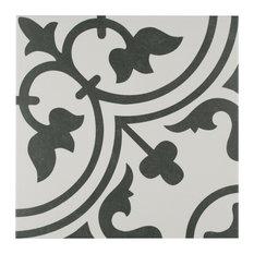 """Bay - Kaligaris Porcelain Art Tiles, Set of 16, 9.75""""x9.75"""", White - Wall and Floor Tile"""