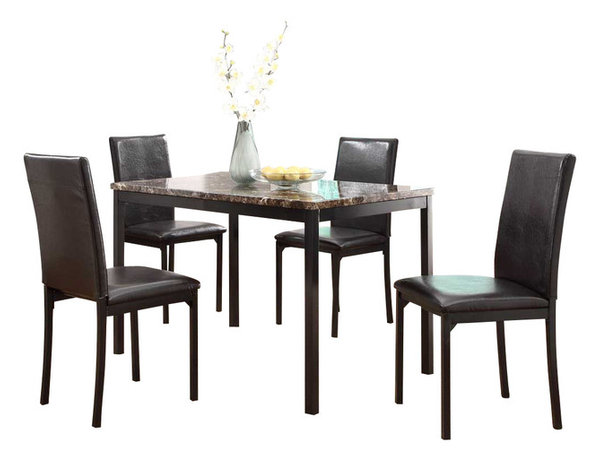 Homelegance Tempe 5-Piece Faux Marble Top Dining Room Set with Black ...