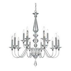 Jasmine 15-Light Incandescent Chandeliers With Optic Handcut Clear, Silver