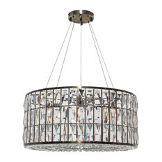 The Monroe Round Clear Crystal Chandelier, Antique Brass Finish