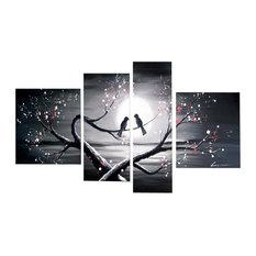 """""""Love Birds"""" Romance Painting, 4-Panel, 66""""x32"""""""
