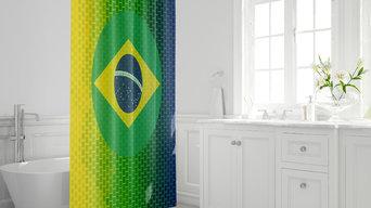 Rideau de douche drapeau du brésil