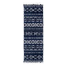 Geo Cotton Runner, Blue, 2.5'x12'