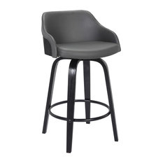 "Hutton 26"" Swivel Counter Stool, Black Brush Wood Finish and Gray Faux Leather"