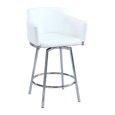 Club Counter Stool with Memory Swivel in White