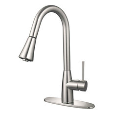 Hardware House - Hardware House 16-3002 Satin Nickel Kitchen Faucet With Pull Out Sprayer - Kitchen Faucets