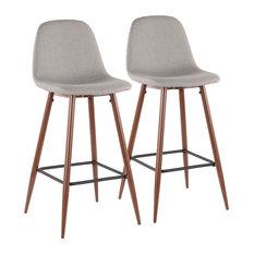Pebble Modern Barstool In Walnut Metal And Light Grey Fabric-Set Of 2
