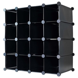 Modern Cube Shoe Rack Organiser, Plastic With 16-Section for Extra Storage Black