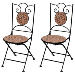 VidaXL Mosaic Bistro Chairs, Terracotta, Set of 2