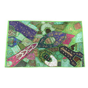 Mogulinterior - Indian Green Vintage Style Wall Hanging Sequin Embroidered Wall Decor Sari - Tapestries