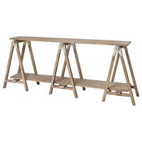 """80"""" Brown Finish Wooden Rectangular Console Table"""