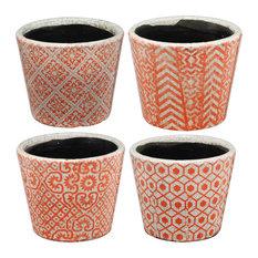 "Terracotta Planter 5.5""x5"", Set of 4 Red"