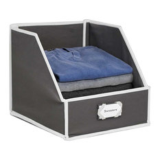 Collapsible Clothing Storage Bin with Flip-Down Front Panel, Gray/White