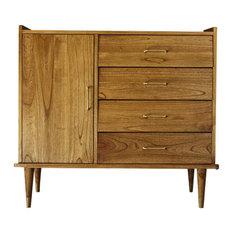 Fifties White Cedar Wood Sideboard, 4 Drawers