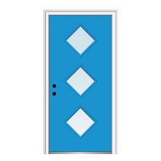 """Clear 3-Diamond Lite Steel 37.5""""x81.75"""", Left Hand In-Swing, 37.5""""x81.75"""", Right"""