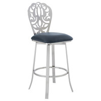 "Barb Contemporary 26"" Counter Height Barstool, Brushed Stainless Steel"