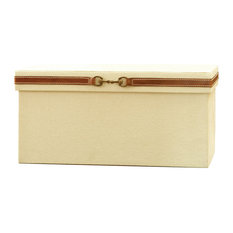 Stirrup Detail Box, Canvas and Brown Leather, Large