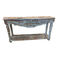 Mogul Interior - Consigned Antique Blue Lagoon Console Table Turquoise Buffet Sofa Accent Table - Console Tables