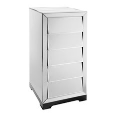 Solitaire 5-Drawer Wood and Glass Chest of Drawers, Mirrored