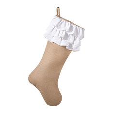 Holiday Décor Ruffle Design Jute Christmas Stocking, White/Natural
