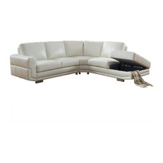 KEMP INTERNATIONAL INC - Cecile Leather Craft Sectional Ivory White - Sectional Sofas  sc 1 st  Houzz : memory foam sectional sofa - Sectionals, Sofas & Couches