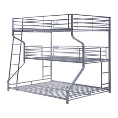 Acme Caius II Triple Twin Full Queen Bunk Bed With Silver Finish 37790