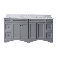 "Talisa 72"" Double Bathroom Vanity,Grey,Marble Top,Square Sink"