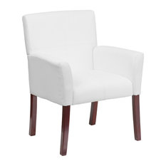 Leather Executive Side Chair Or Reception Chair With Mahogany Legs, White
