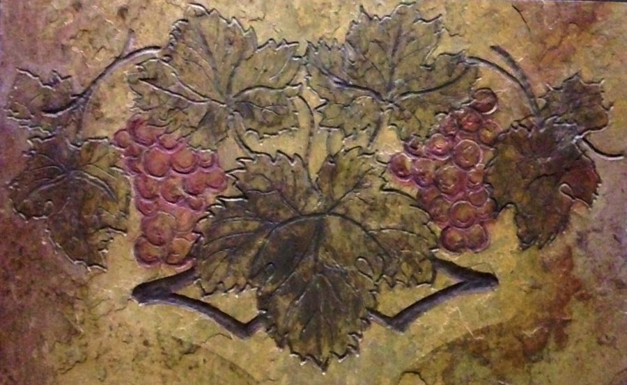 Kitchen Tile - Wine themed artisan stone tile