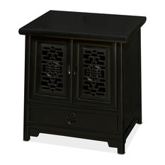China Furniture And Arts   Elmwood Ming Cabinet, Distressed Black   China  Cabinets And Hutches