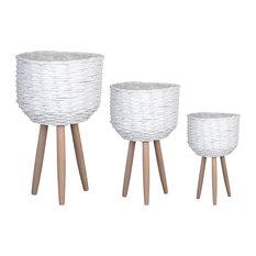 Wood Basket Painted Finish White