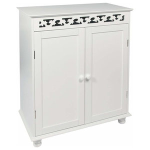 Free-Standing Storage Cabinet, Wood With White Finish and Fretwork Double Door