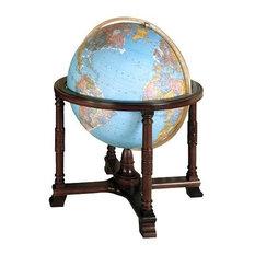 "Diplomat Blue 32"" Illuminated Floor Globe With Wood Stand"