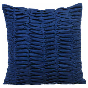 Textured Pintucks 35x35 Suede Blue Throw Cushions Cover, Blue Wind Folds