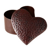Hammered Copper Heart Shaped Jewelry and Keepsake Box, Antique Copper