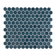 """SomerTile Tribeca 1"""" Hex Mosaic Porcelain Mosaic Tile, Glacier Blue"""
