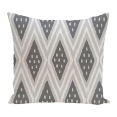"Ikat Diamond Dot Geometric Print Outdoor Pillow, Steel Gray, 18""x18"""