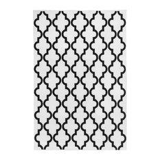 Moroccan Tile Floor Rug, Black on White, 200x290 cm