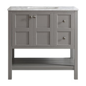 "Florence 36"" Single Vanity Grey W/ Carrara White Marble Countertop W/Out Mirror"