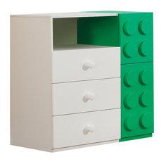 ACME Playground 3-Drawer 2-Door Kids Dresser, White and Green